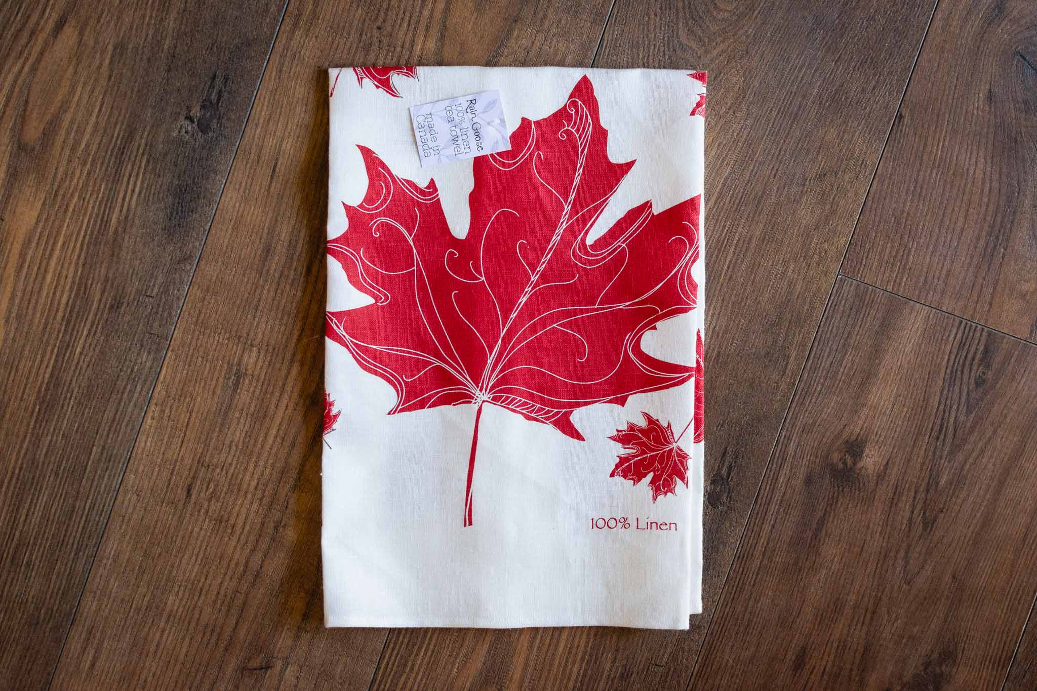 Maple Leaf Linen Tea Towel by Rain Goose