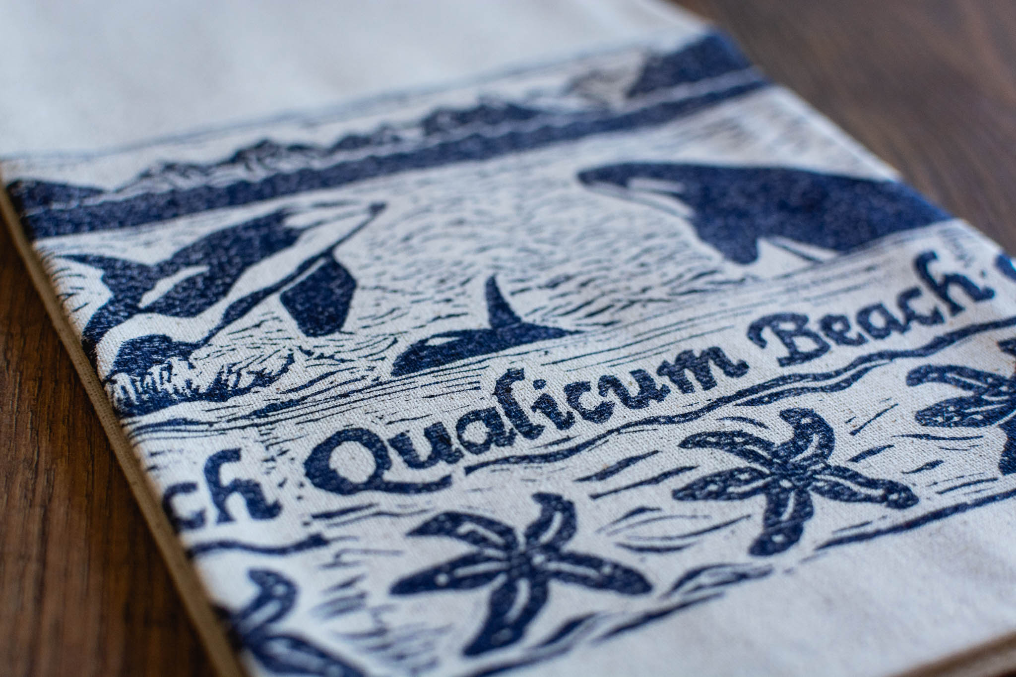 Hand Printed Qualicum Beach Tea Towel by Maritime Blues