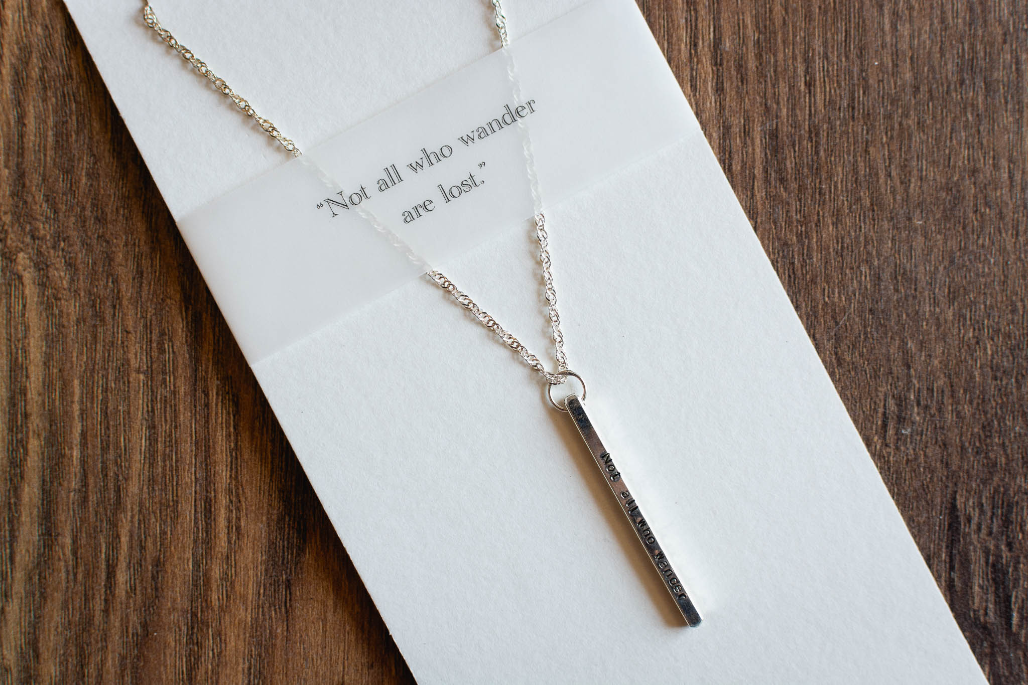 Silver Quote Necklace by Elements Gallery
